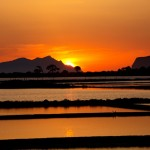 Beautiful sunset on the salt pans