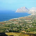 dramatic view on the coast and Monte Cofano from Erice