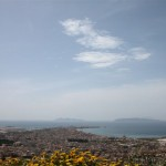 The dramatic view of Trapani and the Egadi Islands seen from Erice