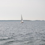 Sailing in the low waters of the reserve