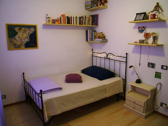 The bedroom with a 110 cm bed