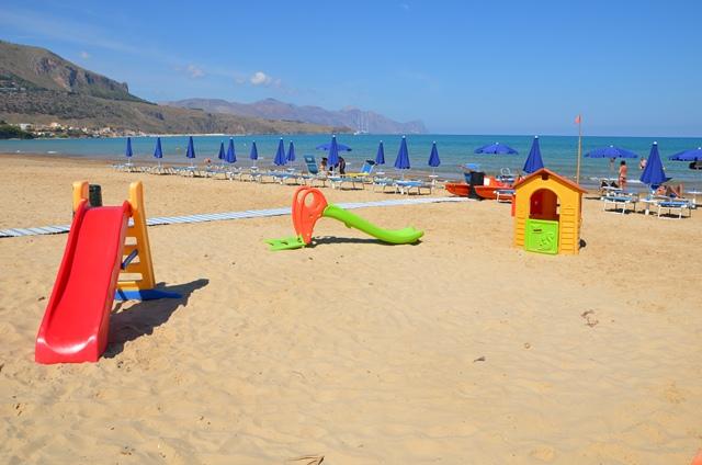 a playground on the beach