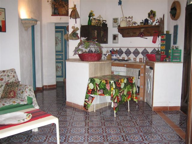 the kitchen area in the living room